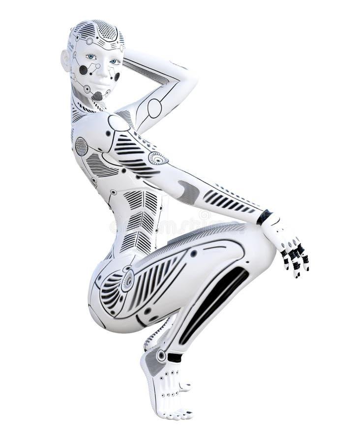 Robotkvinna Droid f?r vit metall konstgjord intelligens royaltyfri illustrationer