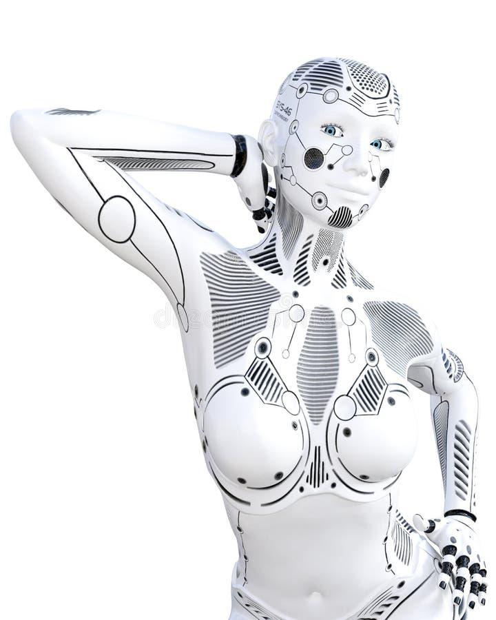 Robotkvinna Droid f?r vit metall konstgjord intelligens stock illustrationer