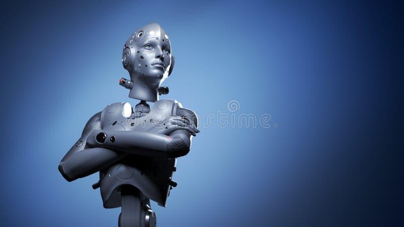 Robotkvinna, konstgjord intelligens f?r science fictionkvinna royaltyfri illustrationer