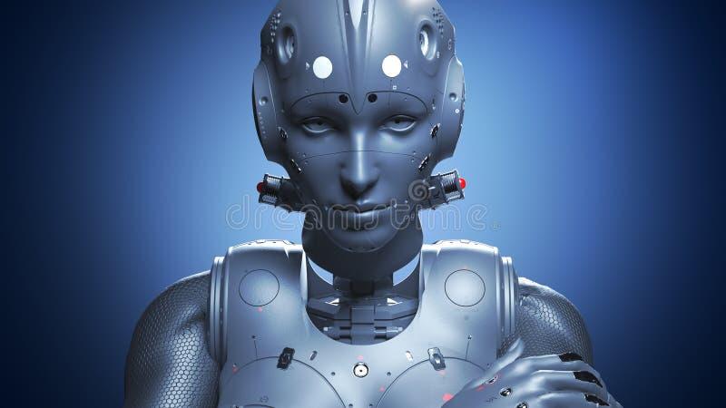Robotkvinna, konstgjord intelligens f?r science fictionkvinna stock illustrationer
