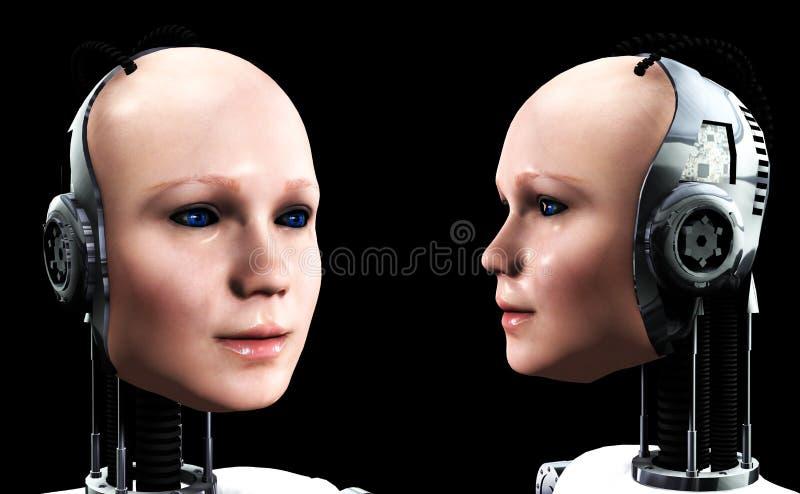 Robotkvinnor 4 stock illustrationer