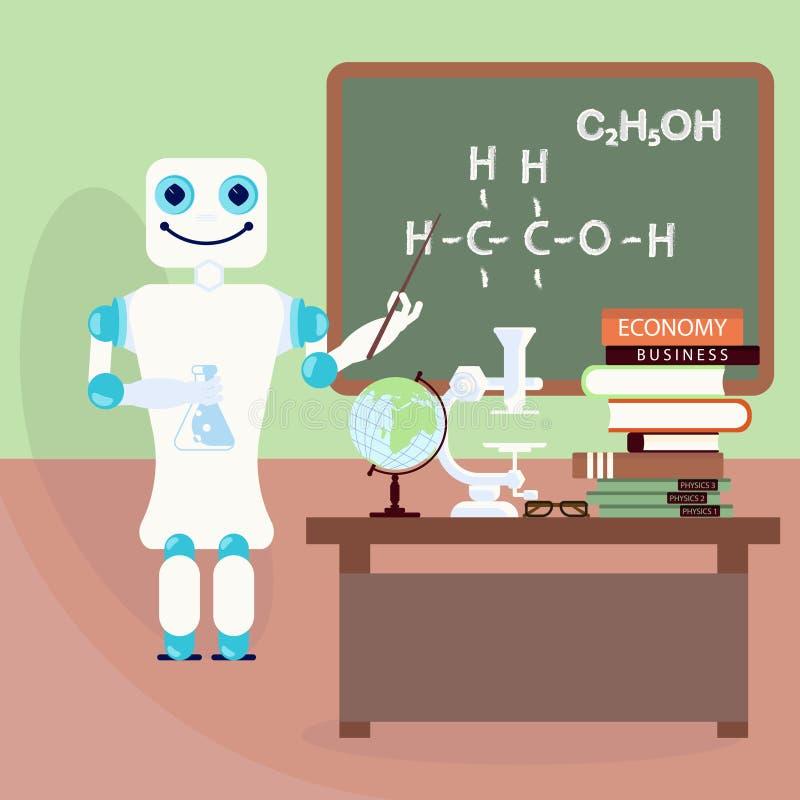 Robotlärare framme av brädet stock illustrationer