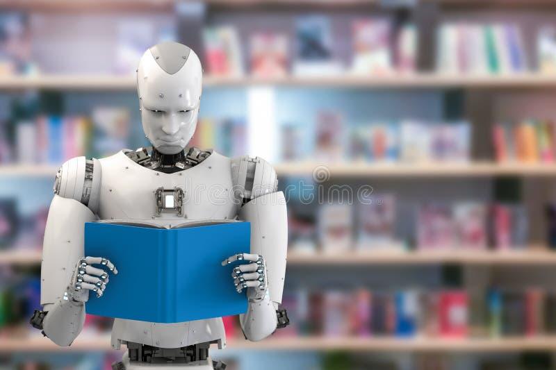 Robotläsebok royaltyfri illustrationer