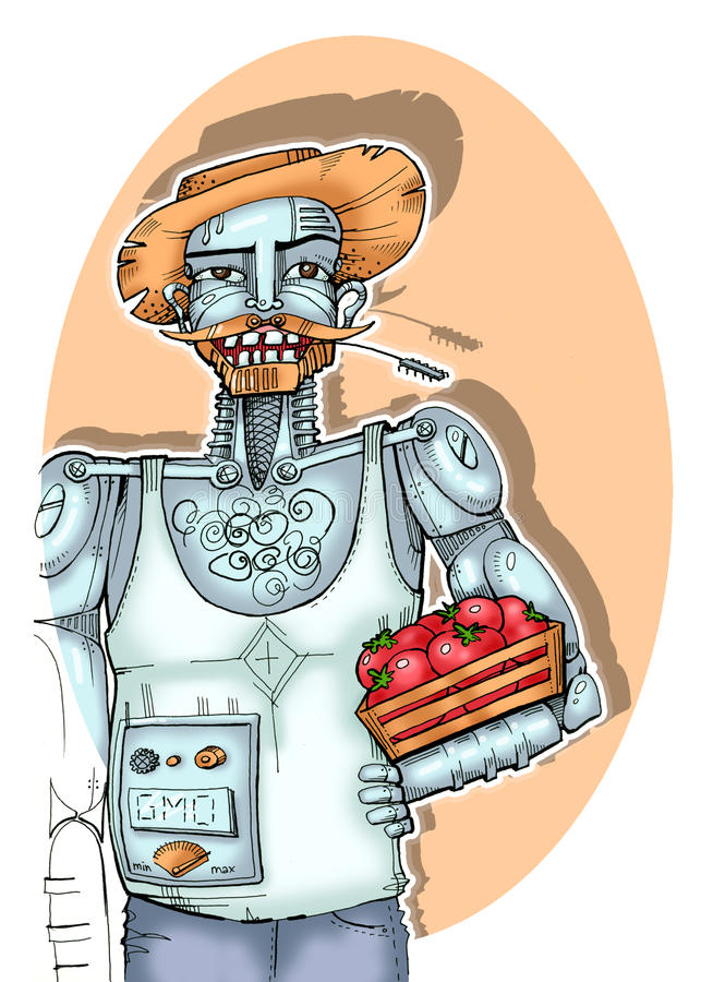 Robotlandbouwkundige royalty-vrije illustratie