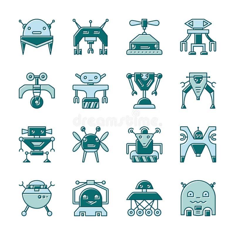 Robotlinje symbolsuppsättning med den förflyttade påfyllningen royaltyfri illustrationer