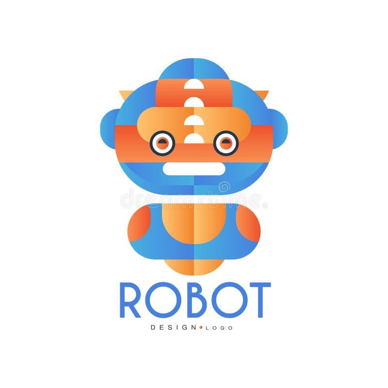 Robotlogodesignen, emblemet för företagsidentitet, teknologi eller datoren gällde servicevektorillustrationen på en vit royaltyfri illustrationer