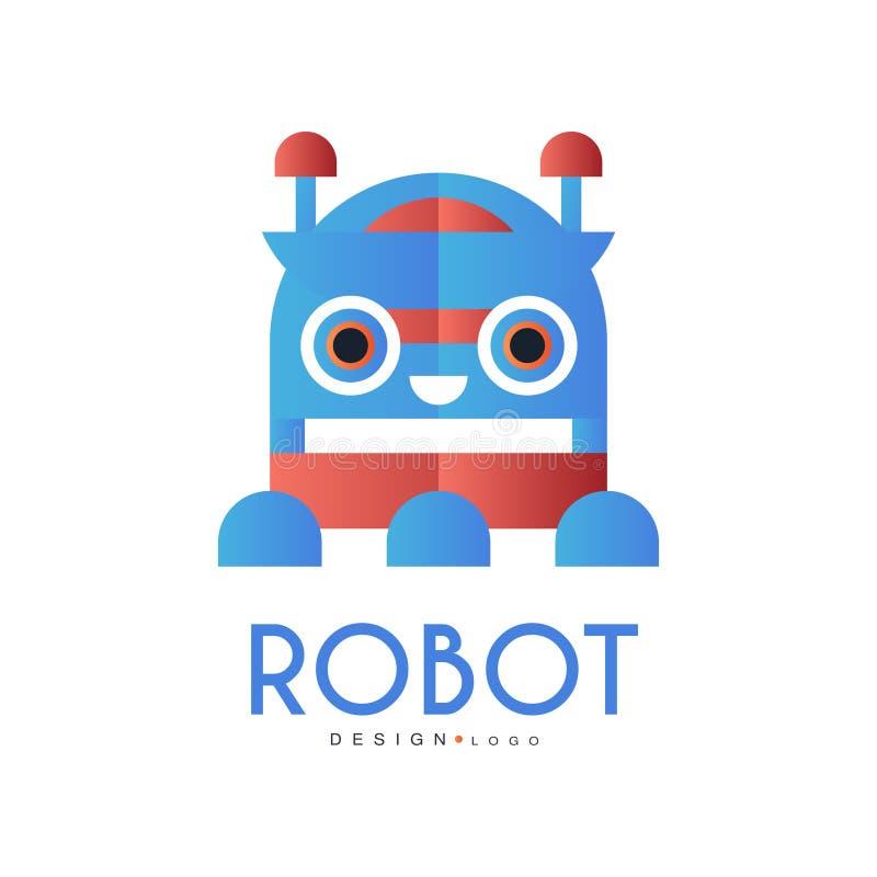 Robotlogoen, designbeståndsdelen för företagsidentitet, teknologi eller datoren gällde servicevektorillustrationen på en vit stock illustrationer