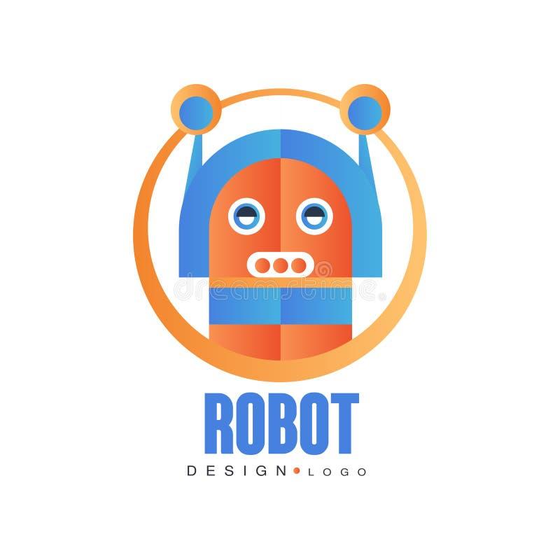 Robotlogoen, konstgjord intelligens, emblemet för företagsidentitet, teknologi eller datoren gällde servicevektorn royaltyfri illustrationer