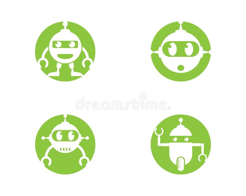 Robotlogomall vektor illustrationer