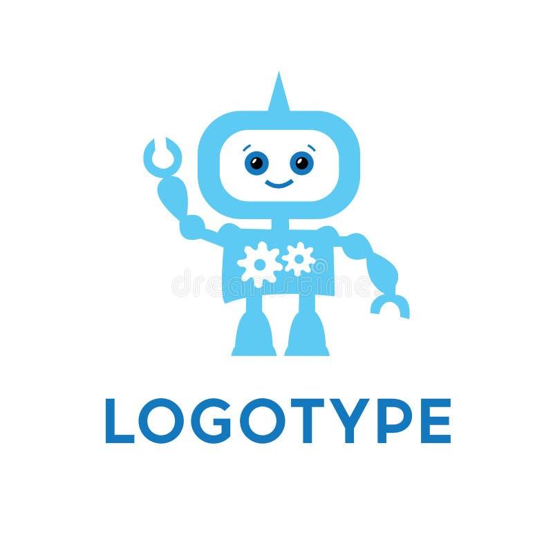 Robotlogomall Gullig logotyp som isoleras på vit bakgrund Framtida teknologitema stock illustrationer