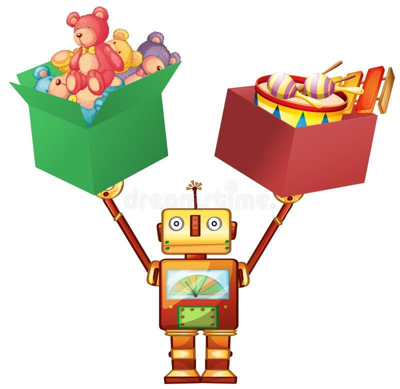 Robotlyftande askar med nallebjörnar och instrument royaltyfri illustrationer