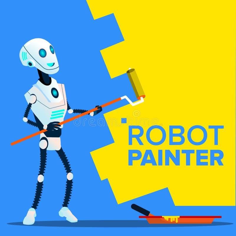 Robotmålare Paints The Wall med rullborstevektorn isolerad knapphandillustration skjuta s-startkvinnan vektor illustrationer