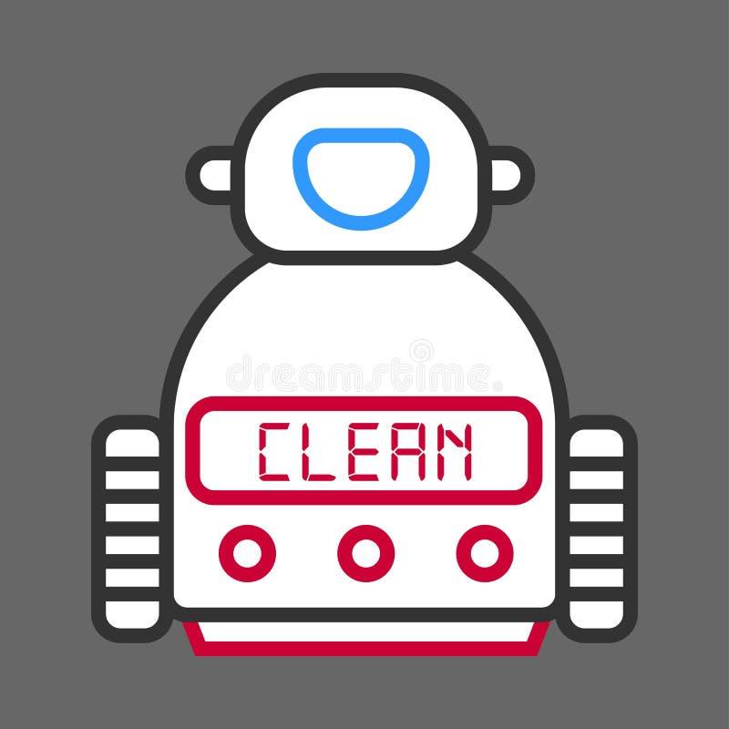 Robotmachine voor schoonmaken geïsoleerd op grijze achtergrond royalty-vrije illustratie