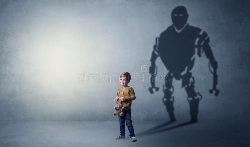 Robotman-Schatten eines netten kleinen Jungen lizenzfreie stockfotos