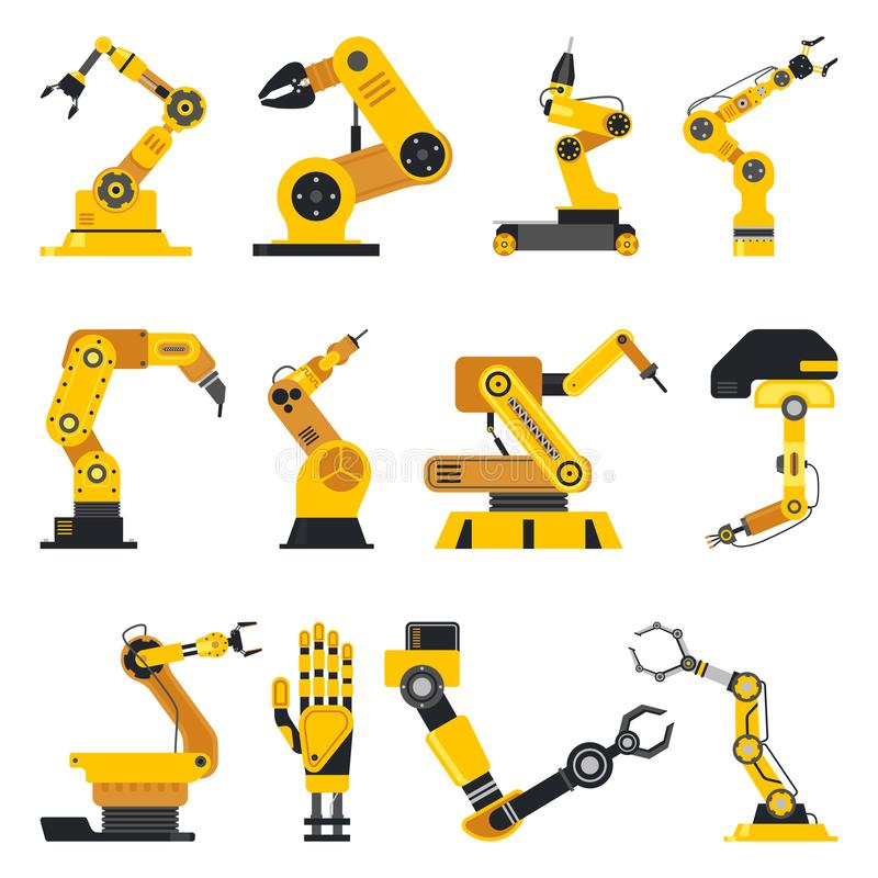 Robotmanipulator eller mekanisk arm vektor illustrationer