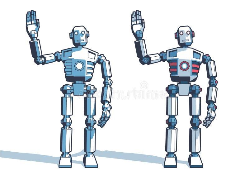 Robotmannen välkomnar att vinka hans hand vektor illustrationer