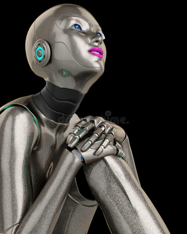 Robotmeisje die cabout dichte omhooggaand denken vector illustratie
