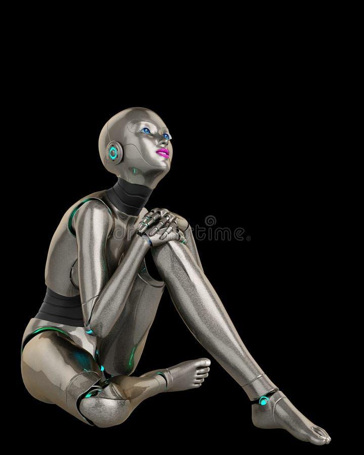 Robotmeisje die over 2 denken royalty-vrije illustratie