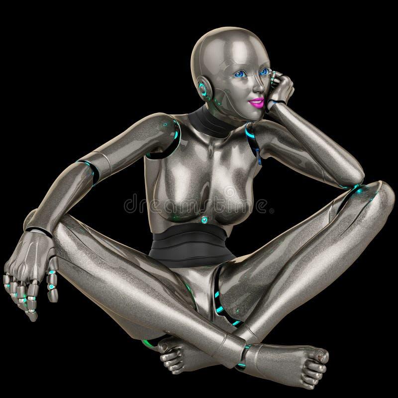 Robotmeisje het dromen stock illustratie