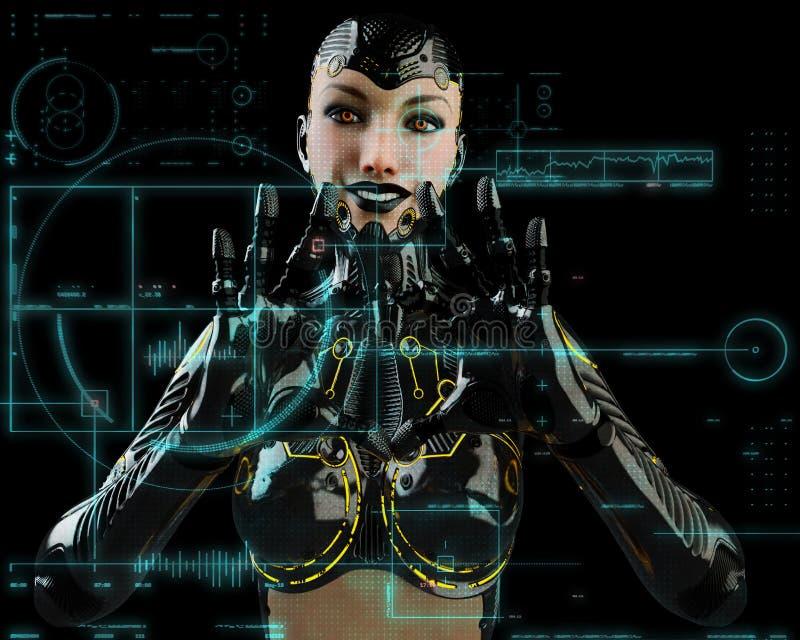 Robotmeisje op een hallo technologie-manier stock illustratie