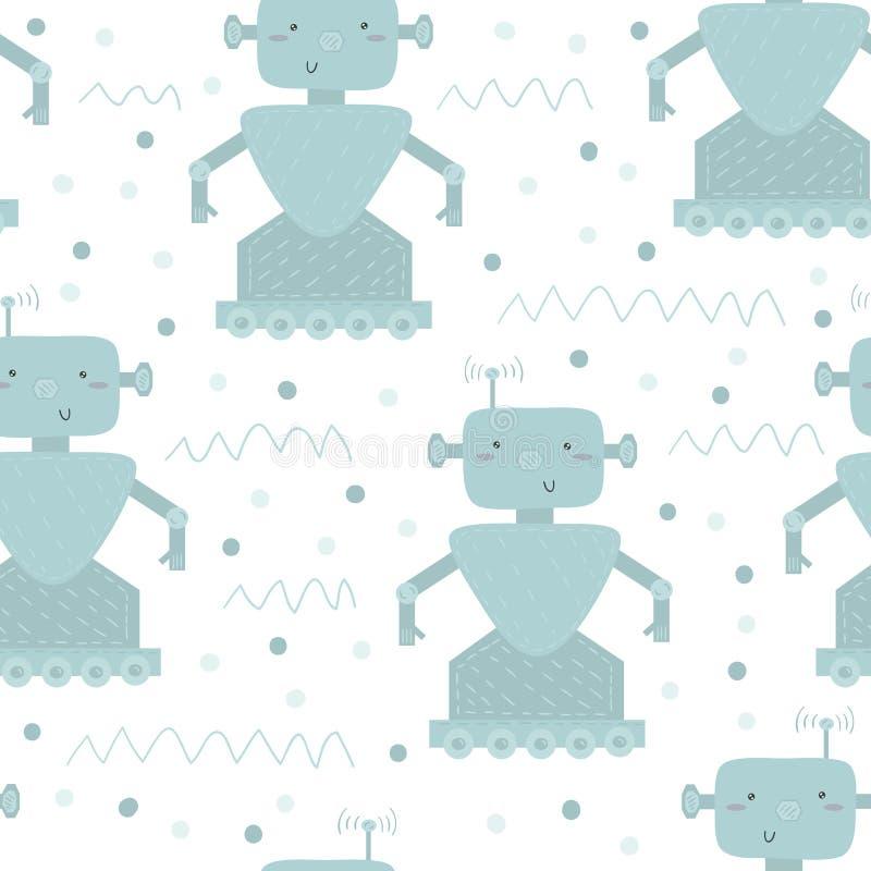 Robotmodell med gulliga robotar på vit också vektor för coreldrawillustration vektor illustrationer