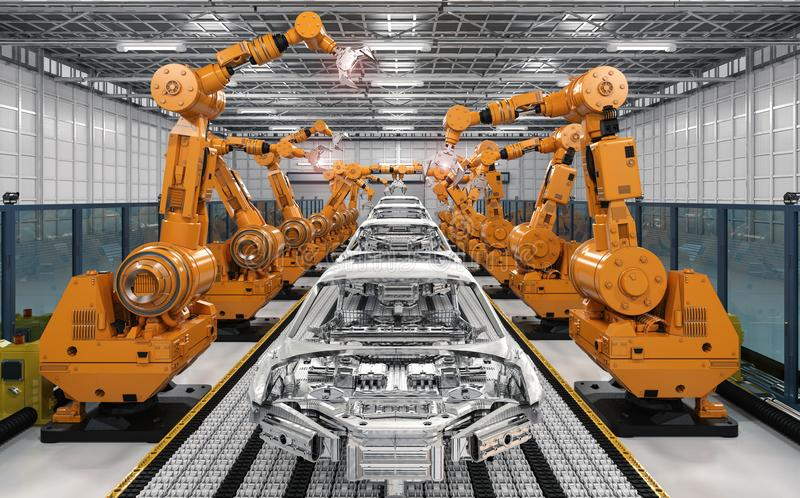 Robotmonteringsband i bilfabrik stock illustrationer