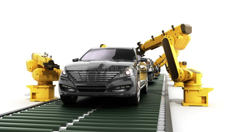 Robotmonteringsbandet i bilfabriken 3d framför på vit vektor illustrationer