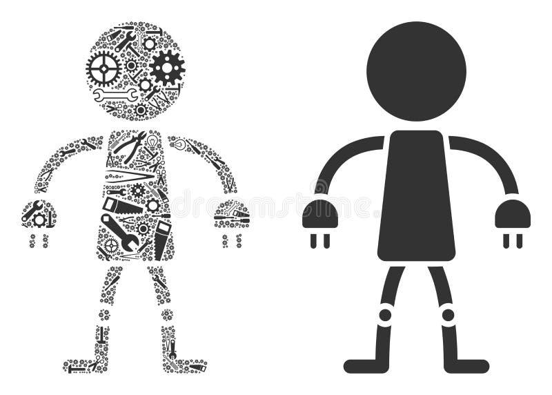 Robotmosaik av reparationshjälpmedel stock illustrationer