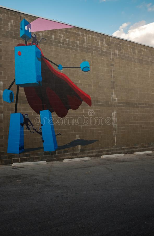 Robotmuurschildering in Birmingham van de binnenstad Alabama stock afbeeldingen
