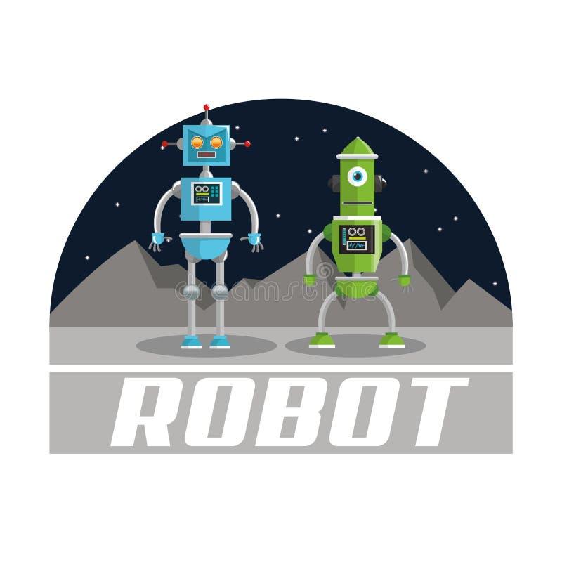 Robotontwerp Het concept van de technologie Kleurrijke illustratie stock illustratie