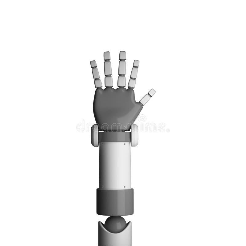 Robotpalm op witte achtergrond in futuristische technologie wordt geïsoleerd die vector illustratie