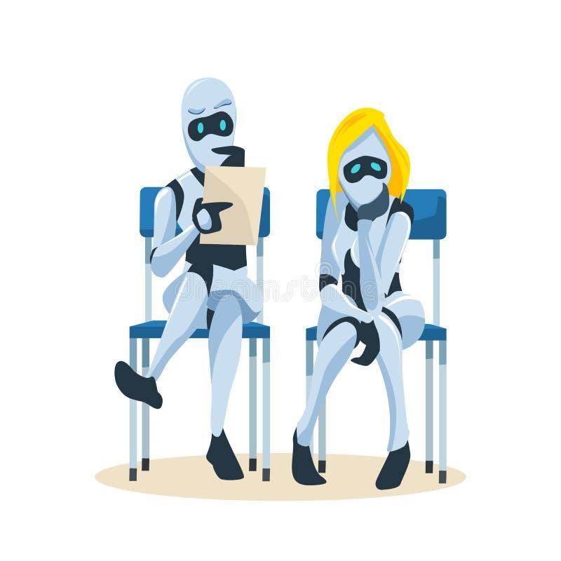 Robotpar sitter på stol väntar på jobbintervju royaltyfri illustrationer