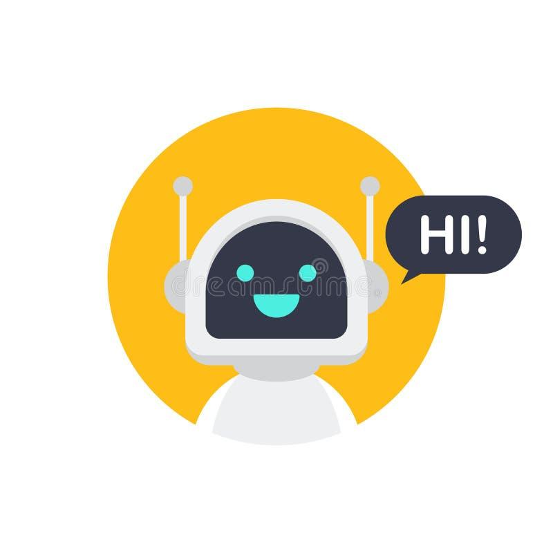 Robotpictogram Bot tekenontwerp Het concept van het Chatbotsymbool Stemondersteunende dienst bot Onlineondersteuning bot Vector i stock illustratie