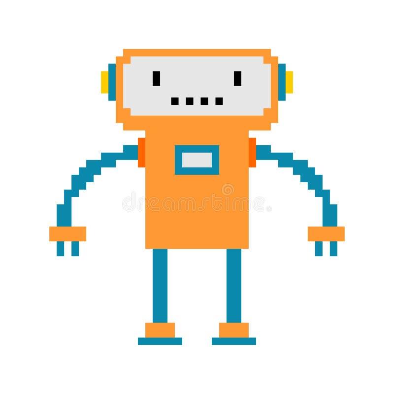 RobotPIXELkonst cyborg för 8 bit Leksakvektor för Digital teknologi dåligt stock illustrationer