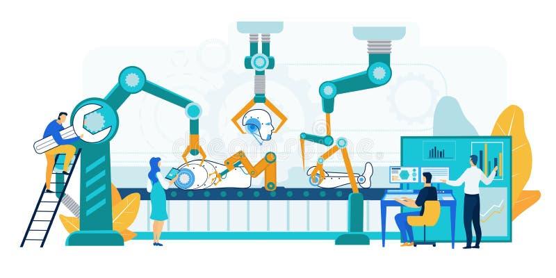 Robotproduktionillustration Maskineriseminarium vektor illustrationer