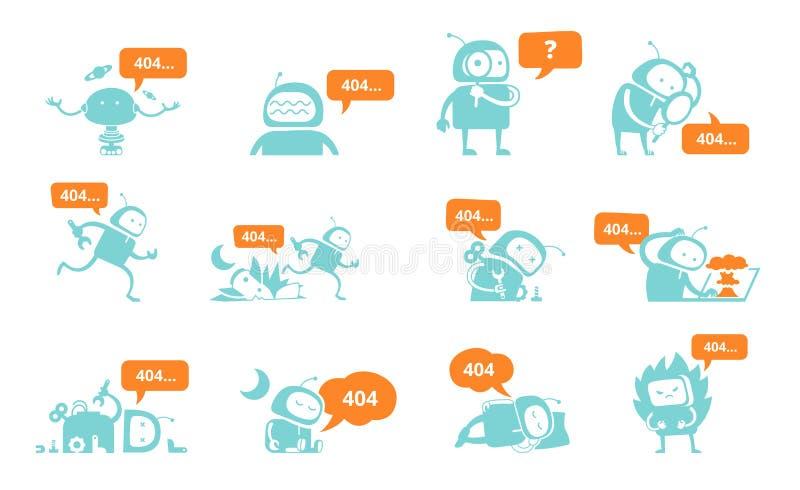 Robotreeks 404 gevonden niet foutenpagina, EXCLUSIEF - met geluid!!! Ruimtevaarders lopende reparaties Vlak blauwe silhouet vecto stock illustratie