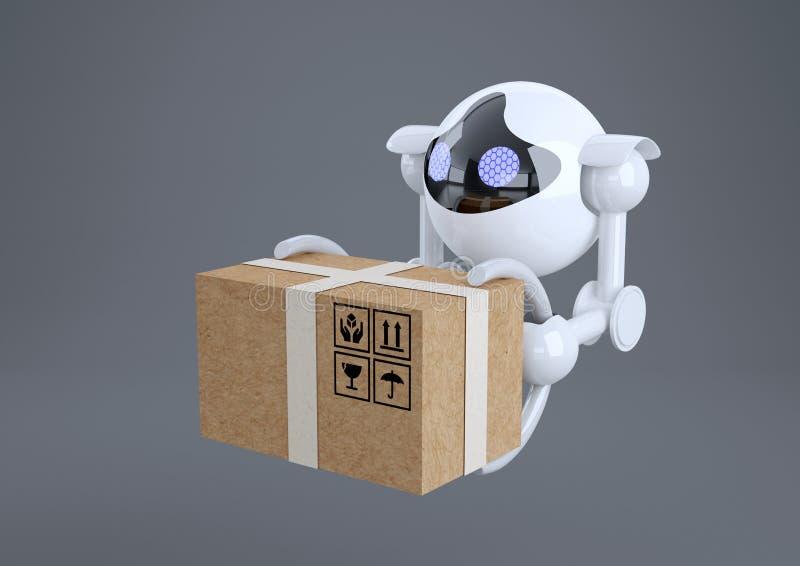 Robots, abejones esféricos que vuelan con la caja en sus garras ilustración del vector