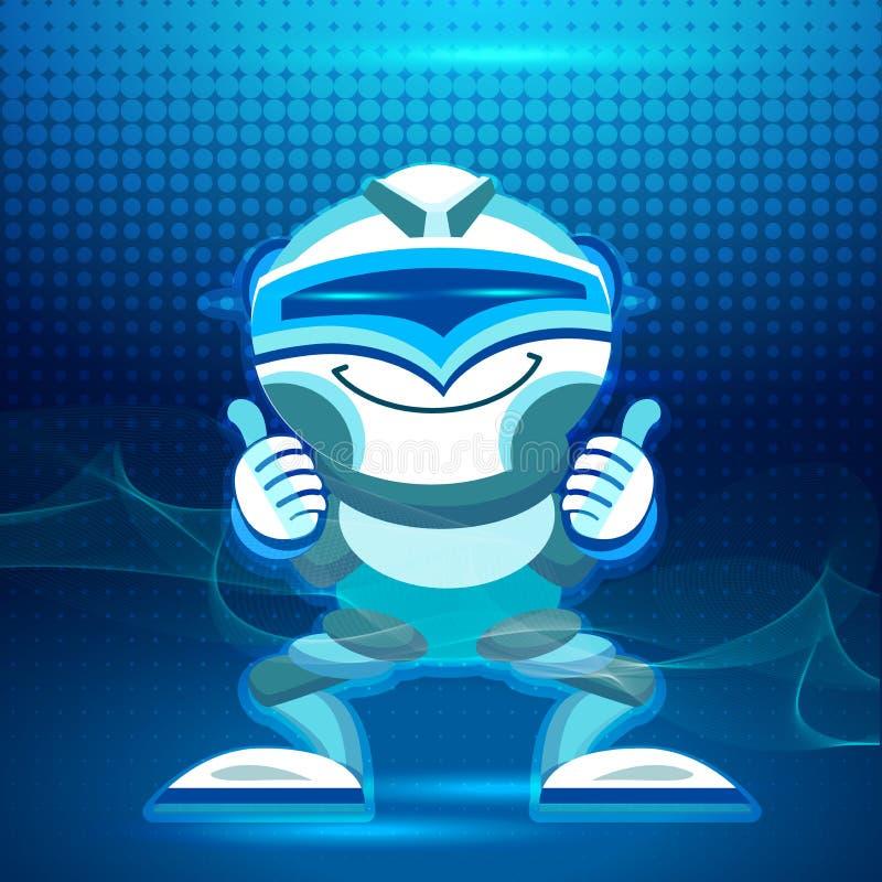 Robots amistosos completamente divertidos del vector fijados Carácter masculino del Humanoid, bot ilustración del vector