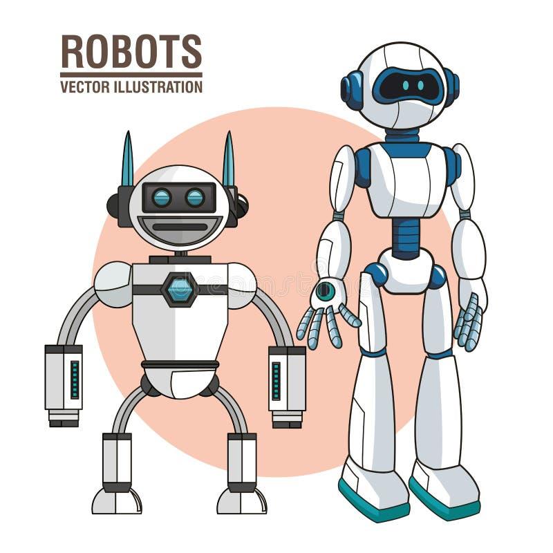 Robots androïde moderne technologie royalty-vrije illustratie