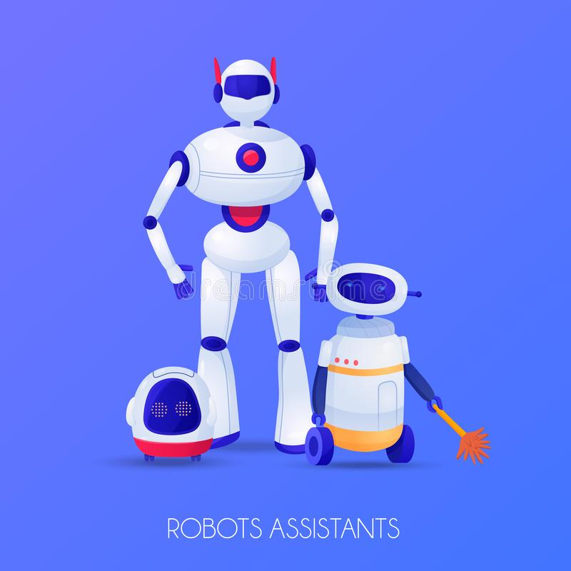 Robots Assistants Illustration royalty free illustration