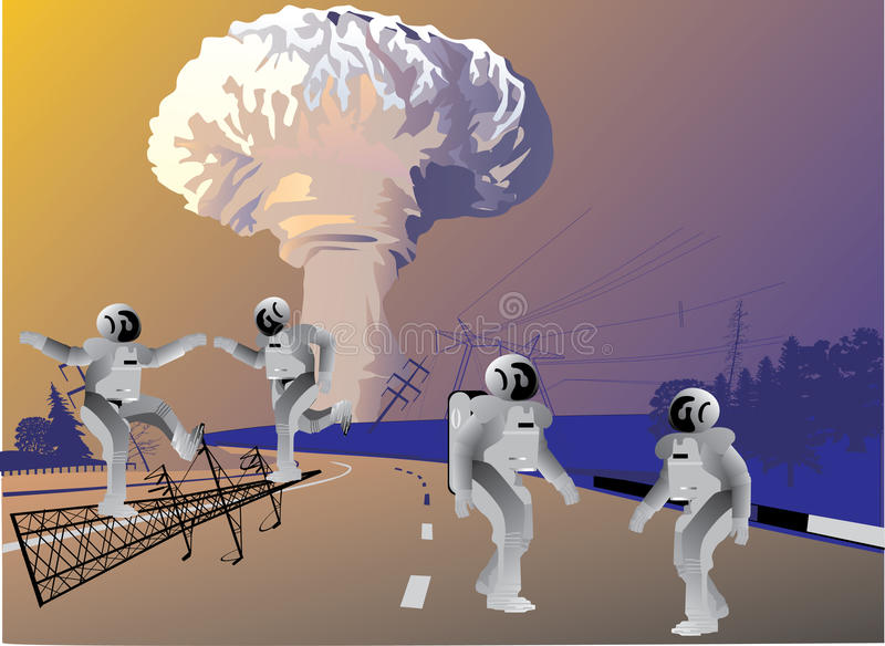 Download Robots And Atomic Explosion Stock Vector - Image: 12035854