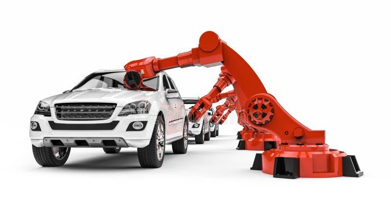 Robots automotrices en una línea de la fábrica stock de ilustración