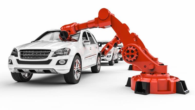 Robots automotrices en una línea de la fábrica libre illustration