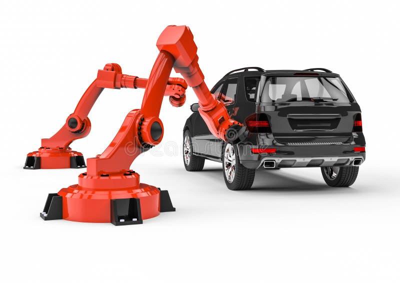 Robots automotrices en una línea de la fábrica ilustración del vector