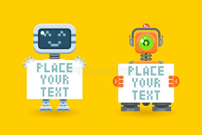 Robots avec l'endroit de papier blanc pour votre texte illustration de vecteur