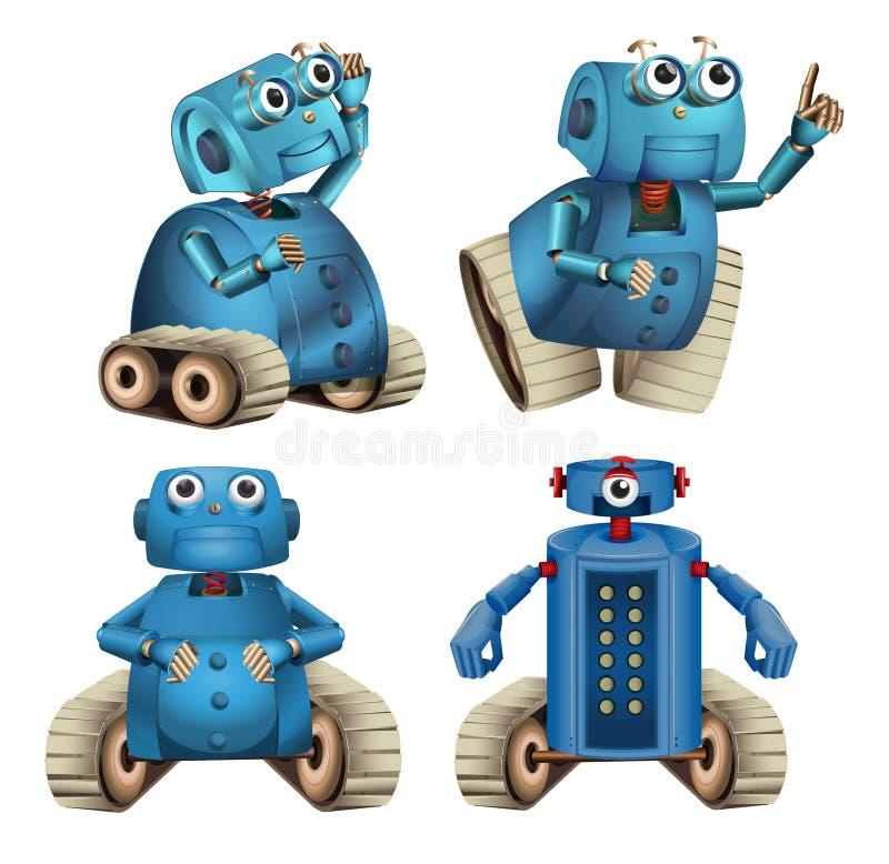 Robots azules que hacen diversas cosas libre illustration