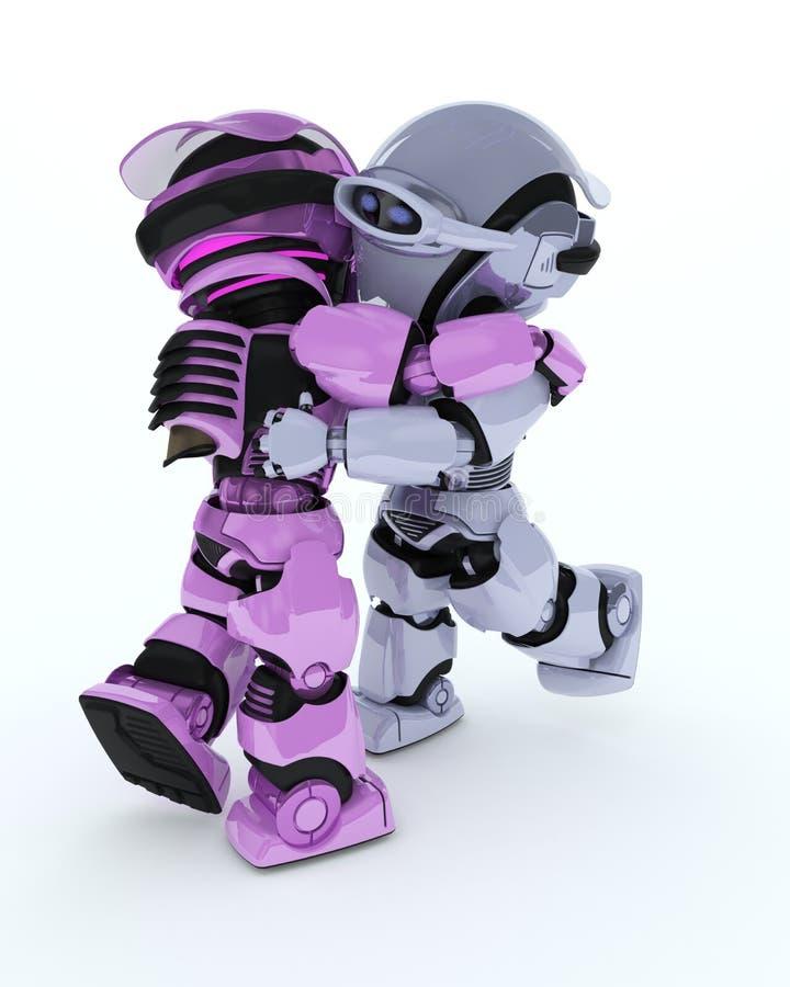 Robots ballroom dancing stock illustration