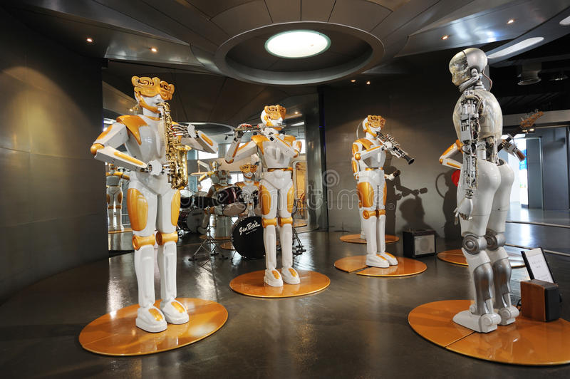 Robots band. In Sichuan Science and Technology Museum royalty free stock image