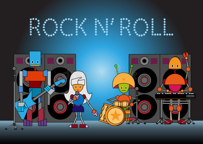 Robots band. Vector illustration of the robots musical band standing on the stage, holding the microphone, guitar, drums and other instruments stock illustration