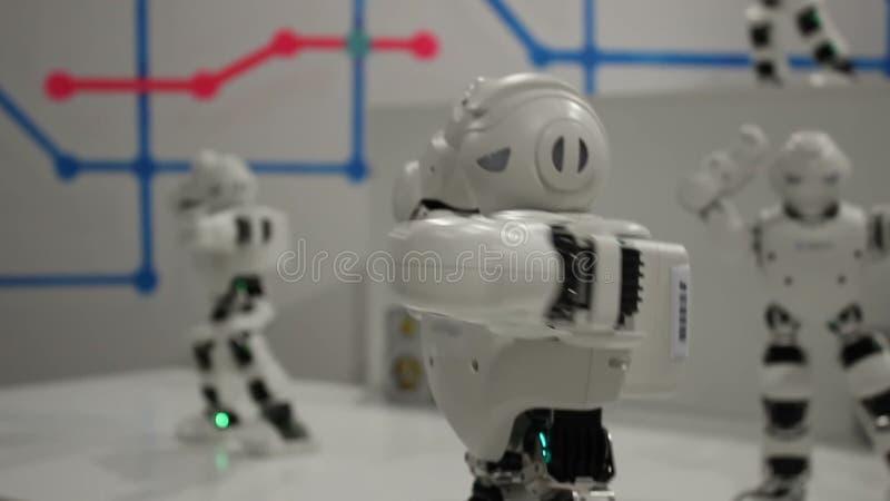 Robots blancs drôles de danse banque de vidéos